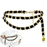 Jurxy Alloy Waist Chain Body Chain Weave Rope Winding Twist Chain for Women Waist Belt Pendant Belly Chain Adjustable Body Harness for Jeans Dresses - S size – Black and Gold