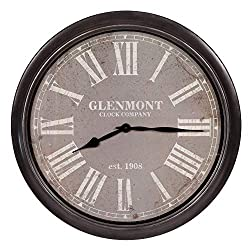 30 Glenmont Distressed Black and Grey Framed Wall Clock