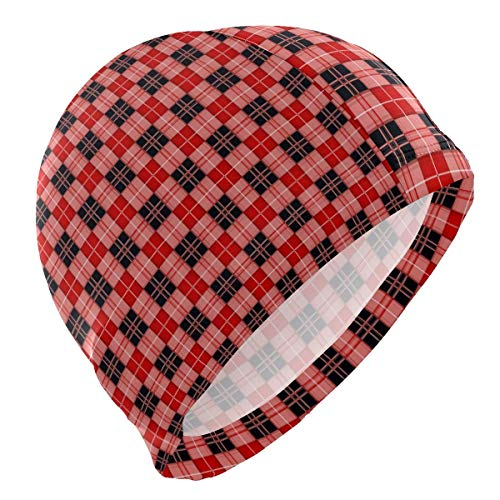 Tcerlcir Gorro Natación Navidad Rojo tartán Negro Gorro de Piscina para Hombre y Mujer Hecho de Silicona Ideal para Pelo Largo y Corto