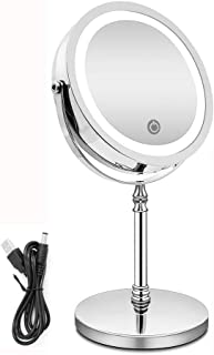 Magnifying Mirror Rechargeable Makeup Mirror, 10x Magnifying Mirror Lighted USB Charge Tabletop Mirror, 1x or 10x Magnification Mirror.