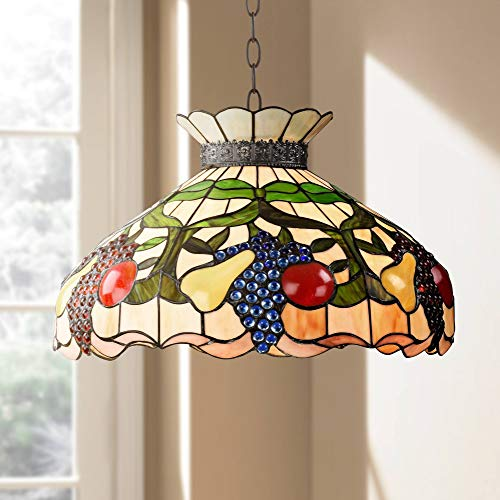 Ripe Fruit Bronze Tiffany Style Pendant Chandelier Lighting 20' Wide Stained Glass Shade 3-Light Fixture for Dining Room House Foyer Kitchen Island Entryway Bedroom Living Room - Robert Louis Tiffany