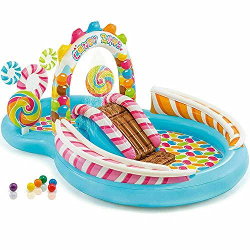 CMAO Jardín niños Inflable Pool Pool, Caramelo Paradise Square Park Pool, Parque PVC Fuente de Agua para niños-9.7 * 6.3 * 4.3ft_Azul