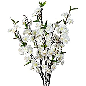 Cherry Blossom Flowers Artificial – 3 Stems Japanese Plum Branches Long Silk Petals Tall Fake Flower Tree Large Faux Centerpiece Dogwood Blossoms Vases Arrangements for Home Decor Wedding Vase – White