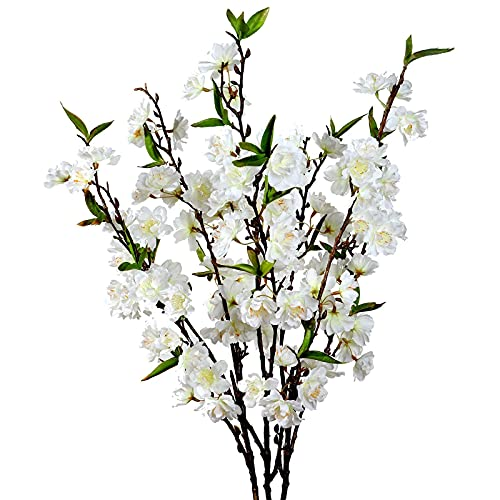 Cherry Blossom Flowers Artificial - 3 Stems Japanese Plum Branches Long Silk Petals Tall Fake Flower Tree Large Faux Centerpiece Dogwood Blossoms Vases Arrangements for Home Decor Wedding Vase - White