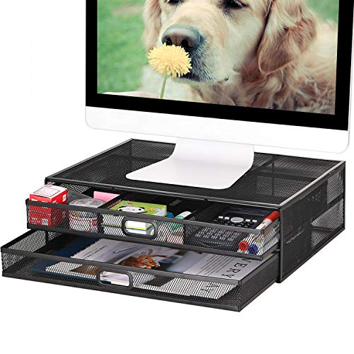 Monitor Stand Riser with Drawer - Metal Mesh Desk Organizer with Dual Pull Out Storage Drawer,Office Supply for Computer, PC, Laptop, Printer, Notebook, iMac (Black)