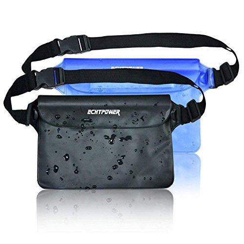 ECHTPower wasserdichte Tasche Beutel Bauchtasche Handyhülle Schutzhülle für Wassersport, Strand, Schwimmen, Bootfahren, Schutzhülle Strand-Tasche, 2 Stück schwarz+blau