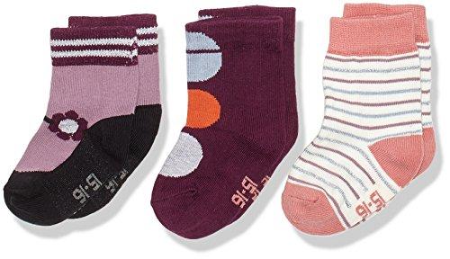 Melton Baby-Mädchen 3er Pack Söckchen lurex Socken, Mehrfarbig (Baby Girl 087), 19