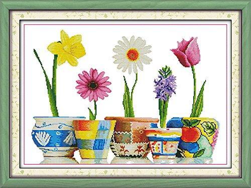 Benway punto de Cruz, cinco tipos de flores 14 puntos, 65 x 47 cm