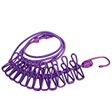 bingone Clothesline Portable Elastic Windproof Cloth Line with 12pcs Clips for Indoor & Outdoor Laundry Drying Purple