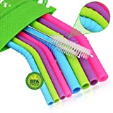 Walfos Reusable Silicone Straws - Extra Long Flexible Drinking Straws for Smoothies/20 & 30 oz Tumblers, Yeti/Rtic, BPA Free (4 Big Straws + 4 Regular Straws + 2 Cleaning Brushes + 1 Storage Pouch)