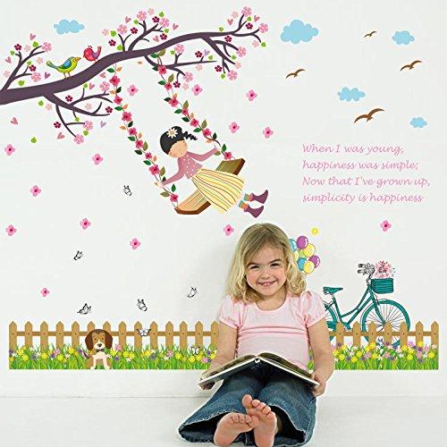 Omheining schommel meisje tred voetlijn kinderkamer slaapkamer geheim liggen decoratieve muurpasta 50 x 70 cm