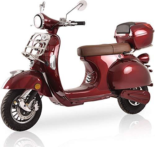 "Elektroroller ""Classico"", 3000 Watt, E-Scooter, Elektro-Roller, E-Roller mit Straßenzulassung, Retro Roller 45 km/h, fest verbauter Blei-Gel-Akku, Produktvideo, Bordeaux Rot"