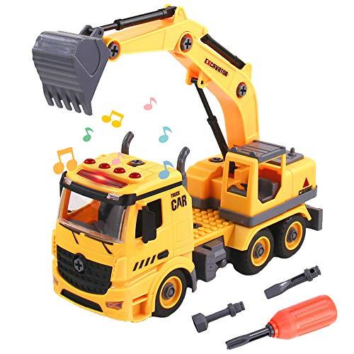 TONZE Bagger LKW Spielzeug Kinder Auto-DIY 2 In 1 Konstruktionsspielzeug mit Licht&Ton Montage Spielzeug ab 3...