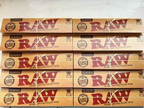 Raw King Size Slim-Papel de liar, juego de 10 paquetes con 320hojas