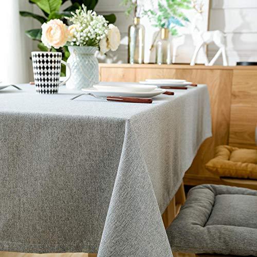 ZXCN Moderno Mantel Tipo Hule Encerado Rectangular Solid Color Cotton and Linen Simple Resistente Al Desgaste Impermeable Elegante Blue Gray 110×110cm