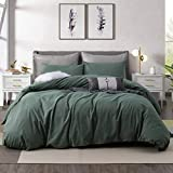 Ventidora Duvet Cover Set 100% Washed Cotton Green 3 Piece Bedding Set Full Queen Size ,1200 Thread Count Luxury Soft and Comfortable,with Corner Ties(1 Duvet Cover+2 Pillowcases) 90x90Inches