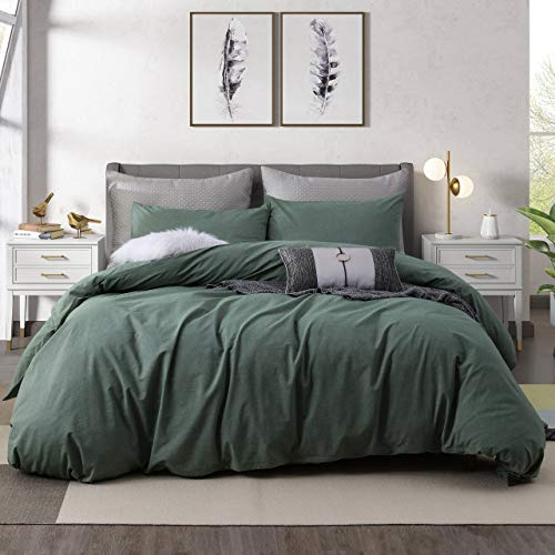 Ventidora Duvet Cover Set 100% Washed Cotton Green 3 Piece Bedding Set King Size ,1200 Thread Count Luxury Soft and Comfortable,with Corner Ties(1 Duvet Cover+2 Pillowcases) 106x90Inches