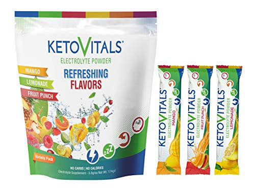 Keto Vitals Original Electrolyte Powder Stick Packs   Keto Friendly Electrolyte Travel Packets   Variety Pack Individual Packets Energy Drink Mix   Zero Calorie Zero Carb (Original Assorted, 30 count)