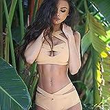 SADWF Conjunto De Bikini De Mujer, Traje De Baño De Dos Piezas De Cintura Alta con Push Up Cruzado, Elegante Traje De Baño Monokini Bikini De Playa,Beige,S
