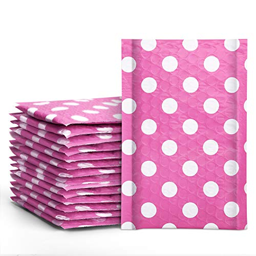 Fuxury #000 Poly Bubble Mailers 4x8 Inches Pink Polka Dots Padded Envelopes Pack of 50