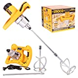 Homdum Ingco Double Gear Putty Mixer Machine for Extra Powerful Mixing 1400W Variable Speed Heavy Duty Electric Hand Stirrer with Mixing Rod Paddle