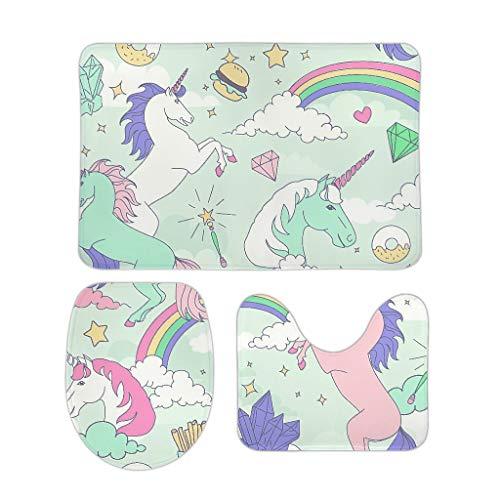 CUCIN 3-delig Unicorn flanelstof badkamertapijten en matten pak voor badkameraccessoires
