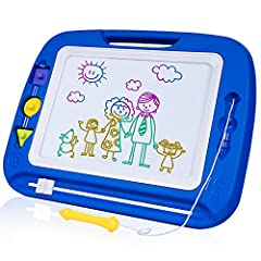 COLORFUL LARGE-SIZED BOARD: The Magnetic Drawing Board displays 4 vivid colors (Red, Yellow, Blue, Green) in 8 color zones, making your child's drawings colorful. Bright colors trigger your child's interest and stimulates his curiosity towards colors...