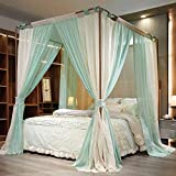 Mosquito Net Doppelt Bed Canopy,Fangding Landed Mosquito net,Double-Layer Shading Bed Mantle,Three Doors,360° Anti-Mosquito,Green,1.8x2.2m Bed