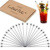 Cocktail Picks Stainless Steel Toothpicks - (24 Pack / 8 Inch) Martini Picks Reusable Fancy Metal Drink Skewers Garnish Sticks for Martini Olives Appetizers Bloody Mary Brandied