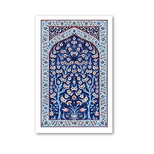 Xynfl Cuadros artísticos de Pared nórdica Pintura en Lienzo Azulejo Turco Árbol de la Vida Carteles e Impresiones de Acuarela para la decoración del hogar50x70cmx1 Sin Marco