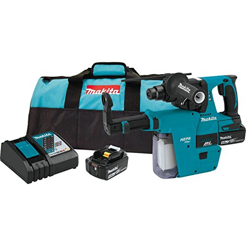 Makita XRH011TX 18V LXT Lithium-Ion Brushless Cordless 1' Rotary Hammer Kit, Accepts Sds-Plus Bits, w/Hepa Vacuum Attachment (5.0Ah),