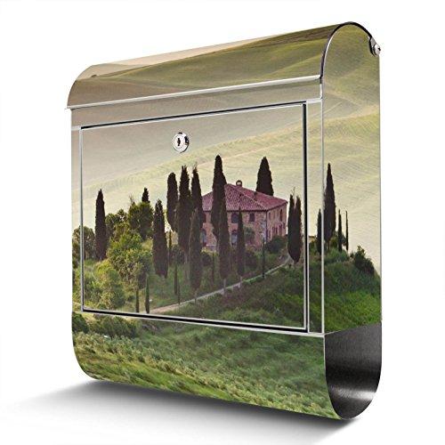 BANJADO Edelstahl Briefkasten mit Zeitungsfach   Design Motivbriefkasten   Briefkasten 38x43x12cm groß   Postkasten mit Montagematerial   2 Schlüssel Motiv Toscana