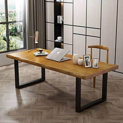 thisiswholesale.co.uk Rustic Industrial Chunky Live Edge Solid Wood Yellow Birch Colour Dining Table Desk Black Steel Leg (150 * 70cm)