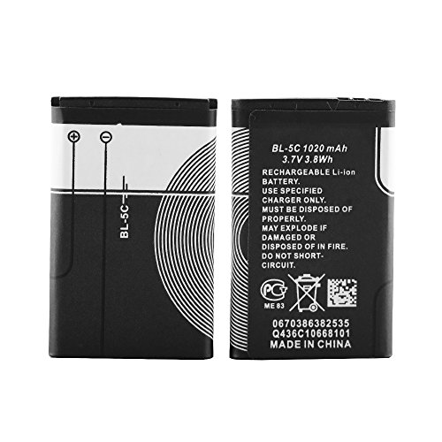 BL-5C Rechargeable Battery 1020Mah with Current Protection 2 Pieces(5C-2pc)