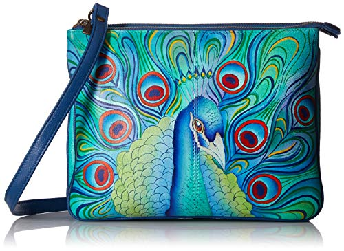 Anuschka Damen Hand Painted Leather Women's Triple Compartment Crossbody, handbemalte Leder-Umhängetasche mit DREI Fächern, Pflaume mit Schmucksteinen, Einheitsgröße