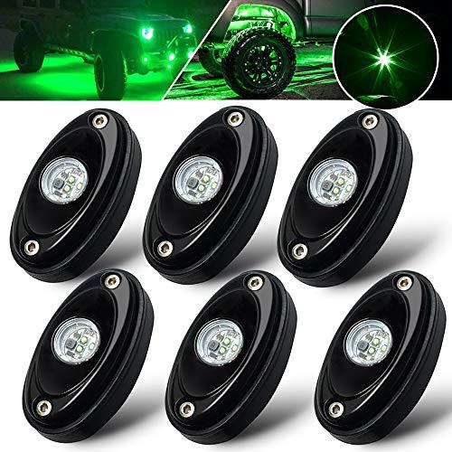 6 Pods LED Rock Light Kit Green LED Neon Lights for Jeep UTV ATV SUV RZR Off Road F150 F250 Ranger Camper Boat underglow Lamp Truck Bed Lighting Under Body Light Footwell Waterproof