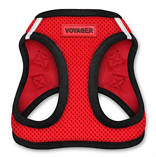 Voyager Step-In Air Dog Harness - All Weather Mesh, Step In Vest Harness for Small and Medium Dogs by Best Pet Supplies - Red Base, Medium (Chest: 16' - 18')