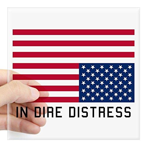CafePress Upside Down Flag Distress Sticker Square Bumper Sticker Car Decal, 3'x3' (Small) or 5'x5' (Large)
