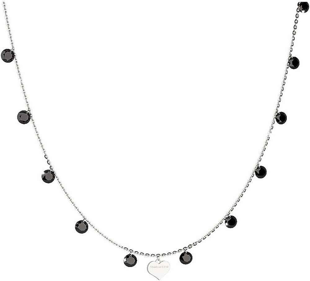 Rebecca collana per donna in argento 925 placcato rodio e pietre SLCKBN05