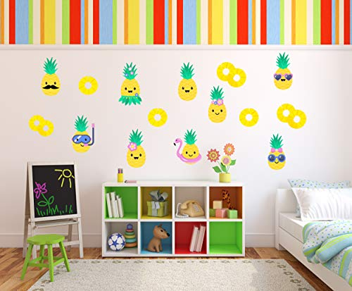 Pineapple Wall Décor – Cute Colorful Decals for Kids Removable Stickers for Bedroom Kitchen Bathroom Playroom Kawaii Party
