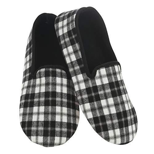 Snoozies Mens Slippers - House Slippers for Men - Light Weight Plaid - Black - Medium