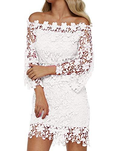 Auxo Women's Off Shoulder Floral Lace Vintage Bodycon Midi Party Cocktail Dress White L