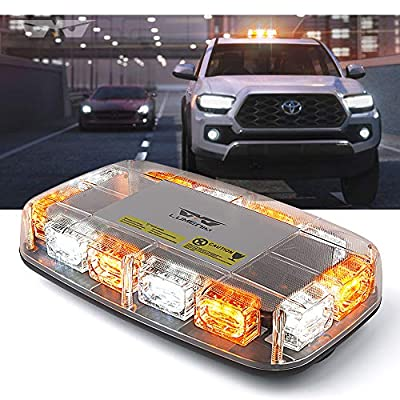 "Lumenix LED Amber White Strobe lights 36 LED Rooftop Flashing Beacon Light 12"" Mini Emergency Hazard Warning Strobe Light Bar with Magnetic Base for Tow Truck Snow Plow Cars Construction Vehicles from Lumenix"