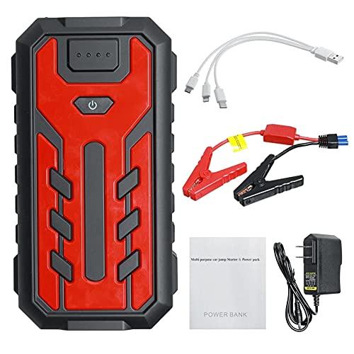 Arrancador de Batería de Coche 28000mAh Salto Portátil Starter Booster 12V Cargador De Batería Power Bank Fácil de Conectar (Color : Red, Size : 28000mAh)