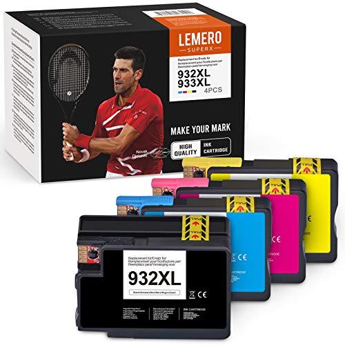 LEMERO SUPERX - Cartuccia d'inchiostro compatibile per HP 932 933 932XL 933XL per HP Officejet 6100 6600 6700 7110 7510 7512 7610 7612 (1nero/ciano/magenta/1giallo)