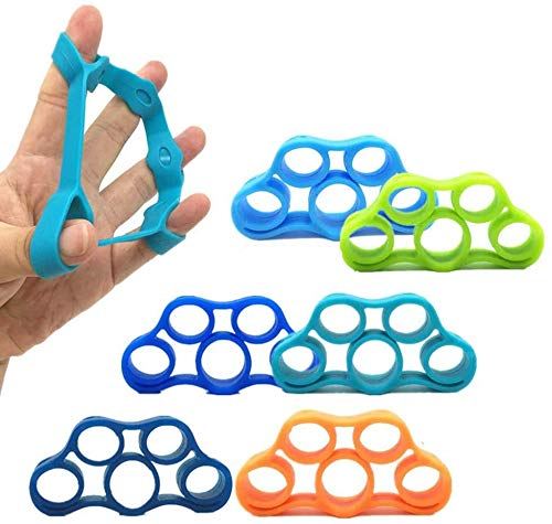 Hovico Finger Strengthener Grip Resistance Bands Grip Strength Trainer Finger Grip Strengthener Strength Trainer Gripper Set for Arthritis Carpal Tunnel Exercise Guitar and Rock Climbing