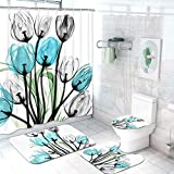 Claswcalor 4 Pcs Tulip Flowers Shower Curtain Sets with Non-Slip Rugs, Toilet Lid Cover and Bath Mat, Colorful Tulip Flowers Curtain with 12 Hooks, (Multi, Large)
