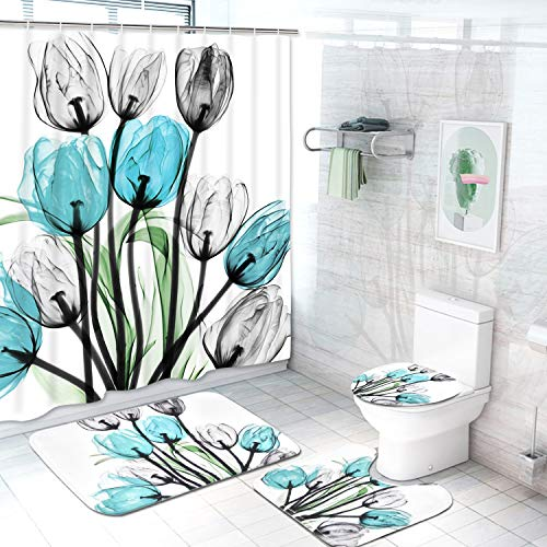 Claswcalor 4 Pcs Tulip Flowers Shower Curtain Sets with Non-Slip Rugs, Toilet Lid Cover and Bath Mat, Colorful Tulip Flowers Curtain with 12 Hooks, Waterproof Tulip Shower Curtains for Bathroom