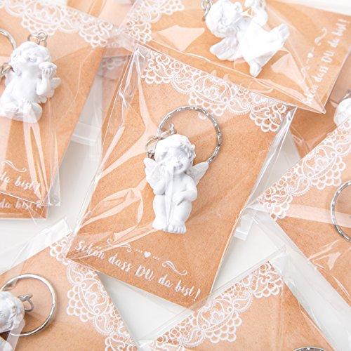 20 kleine Engel Schutzengel Schlüsselanhänger 3,5 cm MIT SCHÖN DASS DU DA BIST Karte - Engelfigur als Gastgeschenk give-away Mitgebsel Kommunion Taufe Hochzeit Geburtstag Kinder Erwachsene