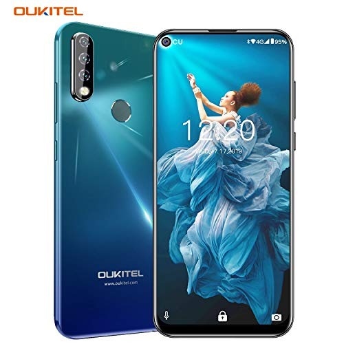 OUKITEL C17 PRO Cell Phones 64GB + 4GB RAM 6.35 Inch FHD+ Screen Android 9.0 Unlocked Smartphone Global Version 4G LTE Dual-SIM 3900mAh Battery 13MP + 5MP + 2MP Triple Camera Face Fingerprint Unlock